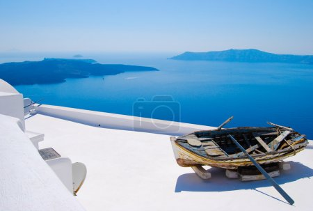 Abandoned boat in Santorini, Greek Islands
