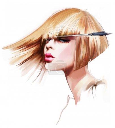 Photo pour Coupe de cheveux cheveux blonds sur fond blanc - image libre de droit