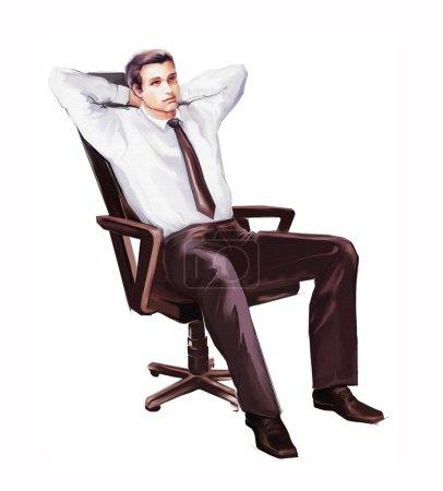 Photo pour Homme d'affaires se détendre assis dans la chaise - image libre de droit