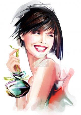 Photo pour Jeune femme de mode avec bouteille de parfum - image libre de droit