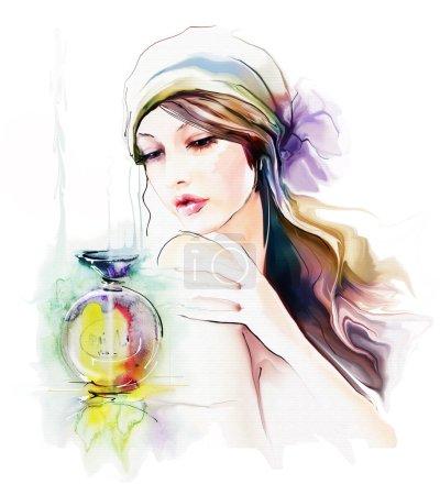 Photo pour Femme de mode jeune avec une bouteille de parfum - image libre de droit