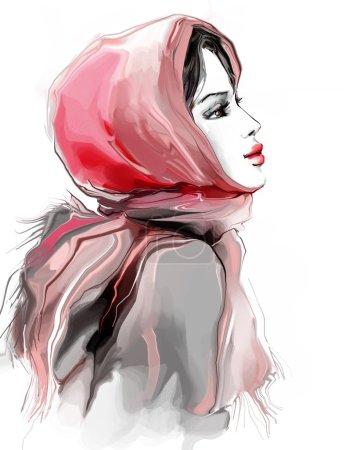 Beautiful girl in pink winter scarf