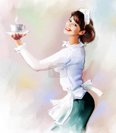 Photo for Beautiful female waitress with a cup - Royalty Free Image