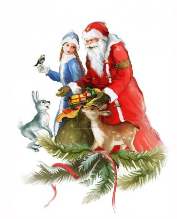 Photo for Young beautiful Snow Maiden with Santa Claus, deer and hare - Royalty Free Image