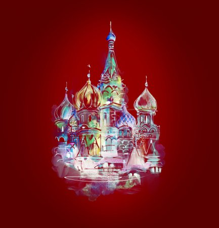 Photo for St. Basil Cathedral on a red background - Royalty Free Image