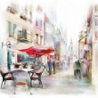 Illustrated Salzburg street, watercolor...