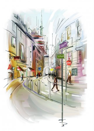 Photo for Colorful illustration of city - Royalty Free Image
