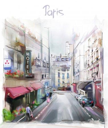 Photo pour Illustration colorée de Paris - image libre de droit