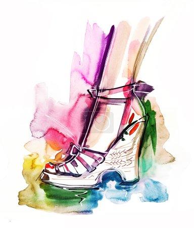 Photo pour Des chaussures. Illustration de mode peint à la main - image libre de droit