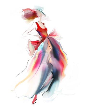 Photo for Retro dress fashion illustration on woman - Royalty Free Image