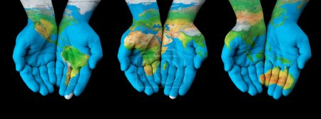 Photo for Map painted on hands showing concept of having the world in our hands - Royalty Free Image