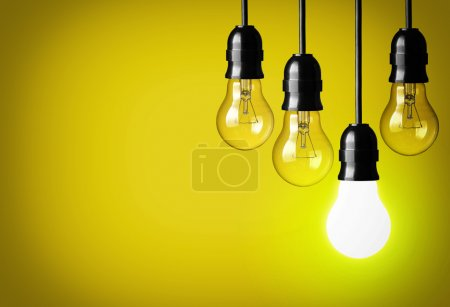 Photo for Idea concept on yellow background - Royalty Free Image