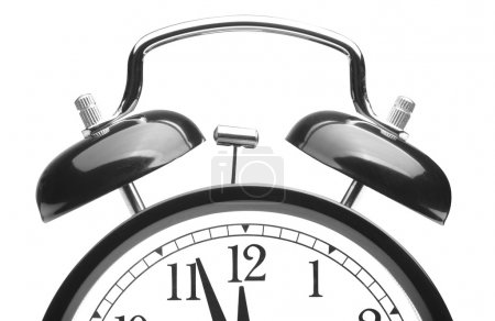 Photo pour Réveil ancien style noir isolé sur blanc - image libre de droit