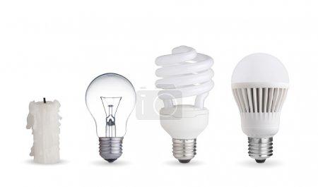 Photo pour Bougie, ampoule en tungstène, ampoule fluorescente et ampoule LED - image libre de droit