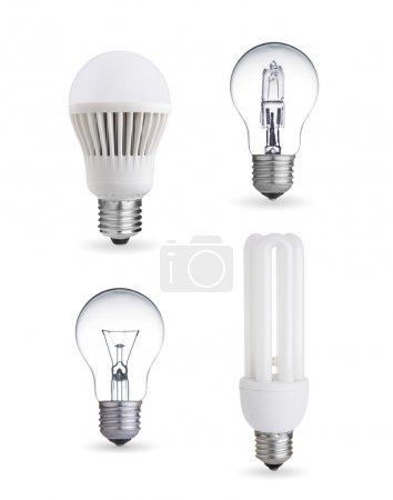 Photo pour Ampoule en tungstène, fluorescente, halogène et ampoule LED - image libre de droit
