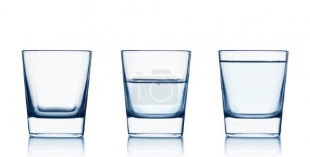 Photo for Empty,half and full water glasses . Isolated on white background - Royalty Free Image
