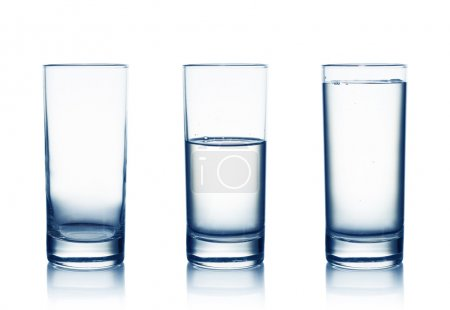 Photo for Empty,half and full water glasses .Isolated on white - Royalty Free Image