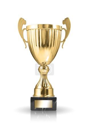 Photo pour Champion trophée d'or isolé sur fond blanc - image libre de droit