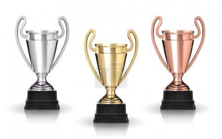 Photo pour Trophées de coupe d'or, d'argent et de bronze isolés sur blanc - image libre de droit