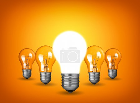 Photo for Idea concept with light bulbs - Royalty Free Image