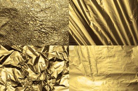Photo pour Ensemble de quatre textures métalliques dorées - image libre de droit