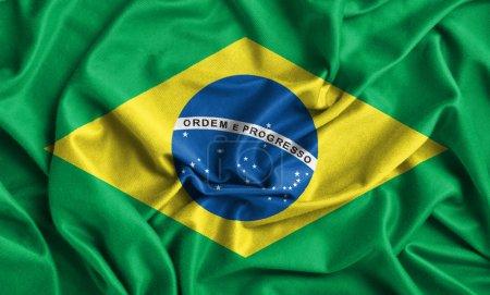 Photo pour Gros plan d'ébouriffé drapeau Brésil - image libre de droit