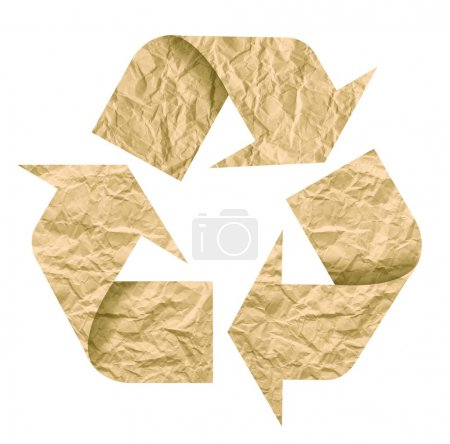 Photo for Recycle symbol made of crumpled paper. Isolated on white - Royalty Free Image