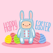 Easter greeting card with a baby in bunny suit