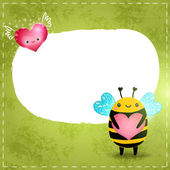 Cartoon bee with heart on green background