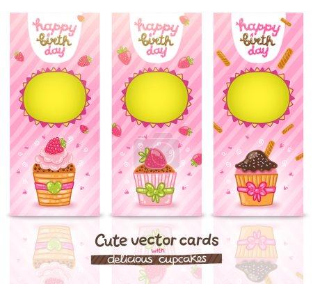 Cute cartoon Happy Birthday card   with cupcake.