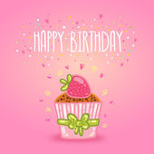 Cute cartoon Happy Birthday card with raspberry cupcake Holiday vector background