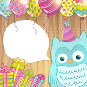 Happy Birthday card background with cute cartoon owl Vector holiday party template Greeting postcard image