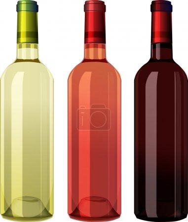 Illustration pour Ensemble de bouteilles de vin blanc, rose et rouge - image libre de droit