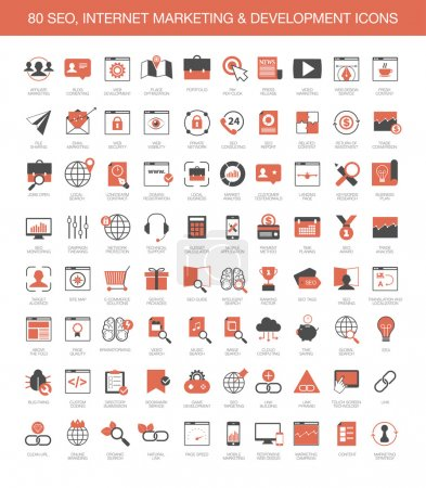 Illustration for Set of 80 SEO, internet marketing and development icons - Royalty Free Image