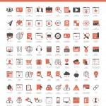 Set of 80 SEO, internet marketing and development icons