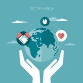 Vector concept illustration of better world