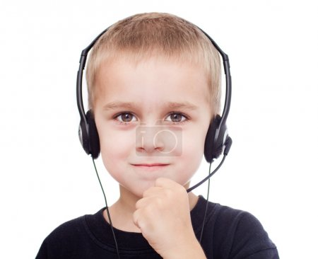 Little boy with headphones and microphone