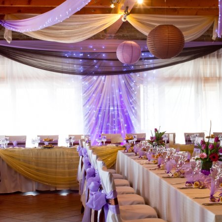 Photo for Wedding place with decorations purple with light - Royalty Free Image