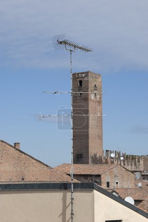 Panorama with historical tower and antenna TV...