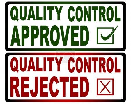 Photo pour Timbres de contrôle de la qualité (Approuvé vert) et (Rejeté rouge) ) - image libre de droit