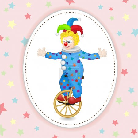 Illustration for Funny clown with unicycle over star background - Royalty Free Image