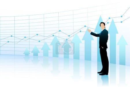 Business Man showing Bar Graph