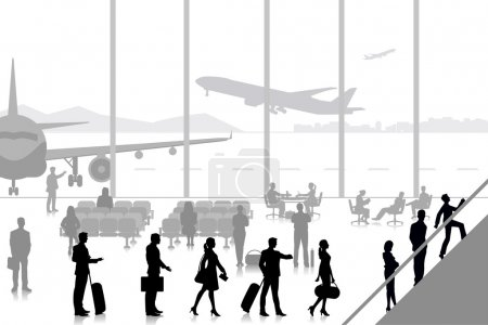 Illustration for Easy to edit vector illustration of people in airport lounge - Royalty Free Image