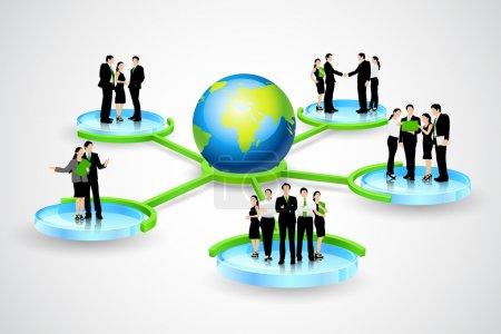 Illustration pour Illustration vectorielle facile à éditer de l'arbre d'organisation avec différents niveaux hiérarchiques - image libre de droit