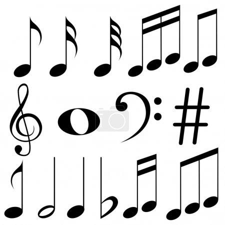 Illustration pour Illustration vectorielle facile à éditer des notes de musique - image libre de droit