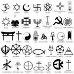 Easy to edit vector illustration of world religiou...