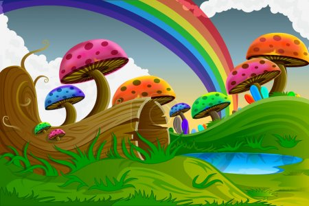 Illustration for Easy to edit vector illustration of scenic beauty of fairy tale with colorful mushroom - Royalty Free Image