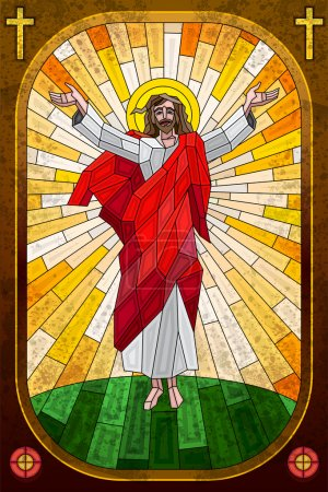 Stained Glass Painting of Jesus Christ