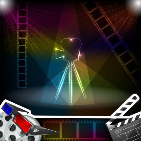 Easy to edit vector illustration of filmstrip with...
