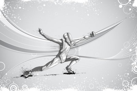 Fencer Attacking with Rapier Foil